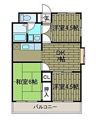 ヴィーウェルマンション[3階]の間取り