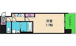 エグゼ上町台 7階1Kの間取り