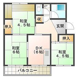 南多聞台住宅6号棟[5階]の間取り