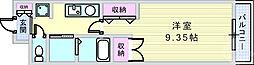プレミアムコート武庫川 2階1Kの間取り