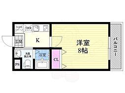 阪急京都本線 西京極駅 徒歩17分の賃貸マンション 3階1Kの間取り
