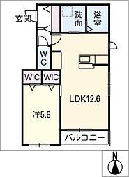 仮)神守町メゾン 東棟 2階1SLDKの間取り