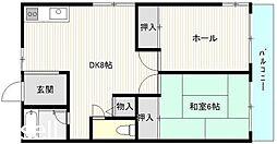 広島県広島市佐伯区三筋1丁目の賃貸アパートの間取り