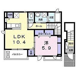 レジデンスI 2階1LDKの間取り