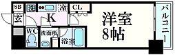 阪神本線 西宮駅 徒歩4分の賃貸マンション 3階1Kの間取り