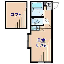 神奈川県横浜市神奈川区松見町1丁目の賃貸アパートの間取り