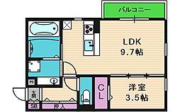 ラムココ真田山 1階1LDKの間取り