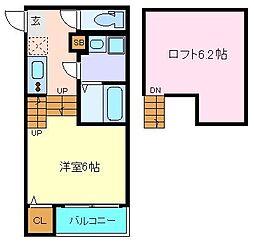 仮称)西中田2丁目(5) 1階1Kの間取り