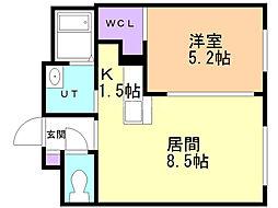 シャンブル澄川 2階1LDKの間取り