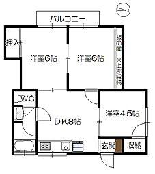 福永アパート[202号室]の間取り
