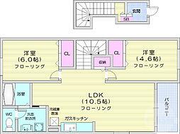 JR仙山線 葛岡駅 徒歩4分の賃貸アパート 2階2LDKの間取り