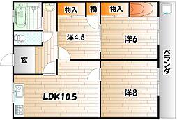 石川ハイツI[1階]の間取り