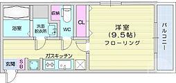 仙台市営南北線 広瀬通駅 徒歩7分の賃貸マンション 3階1Kの間取り