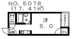 大阪府大阪市東住吉区田辺5丁目の賃貸マンションの間取り