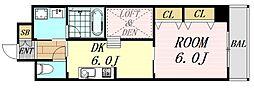 アローフィールズ弐番館 12階1DKの間取り