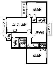 レジデンス久A[2階]の間取り