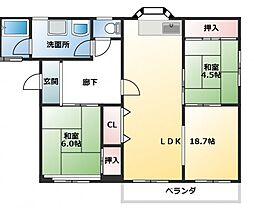 兵庫県姫路市飾磨区清水2丁目の賃貸マンションの間取り