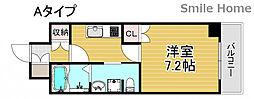 南海線 岸里玉出駅 徒歩6分の賃貸マンション 1階1Kの間取り
