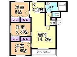 セゾンクレールIII 3階3LDKの間取り