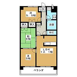 サンコートTOYOTA[5階]の間取り