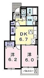 宮崎県宮崎市恒久5丁目の賃貸アパートの間取り