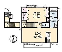 広島県広島市佐伯区五日市中央6丁目の賃貸アパートの間取り