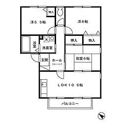 東京都八王子市椚田町の賃貸アパートの間取り