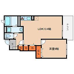 近鉄大阪線 桜井駅 徒歩27分の賃貸アパート 1階1LDKの間取り