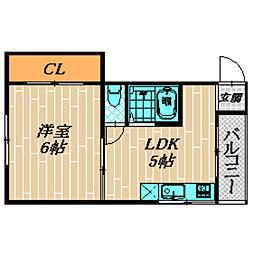 エクセ—ラ森小路[301号室]の間取り