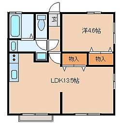 福岡県八女市龍ケ原の賃貸アパートの間取り