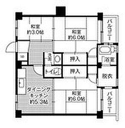 ビレッジハウス古賀 2号棟[3階]の間取り
