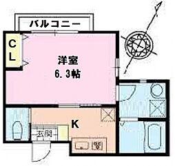 千葉県松戸市胡録台の賃貸アパートの間取り