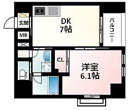 Osaka Metro御堂筋線 江坂駅 徒歩16分の賃貸マンション 9階1DKの間取り