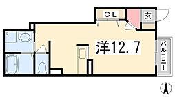 兵庫県揖保郡太子町立岡の賃貸アパートの間取り