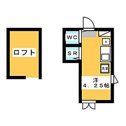 フレシール笹塚B 2階ワンルームの間取り