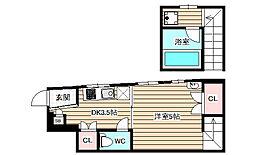 カーサアステリアフクシマ7 1階1DKの間取り