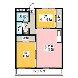 ハニリリカマンション[2階]の間取り