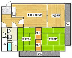 サンワロイヤルマンション2号館[2階]の間取り