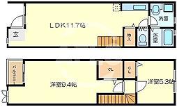 オリーベンハウス 1階2LDKの間取り