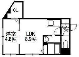 北海道札幌市中央区北四条西30丁目の賃貸マンションの間取り