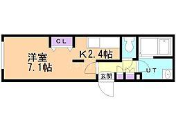 札幌市営東豊線 豊平公園駅 徒歩6分の賃貸マンション 3階1Kの間取り