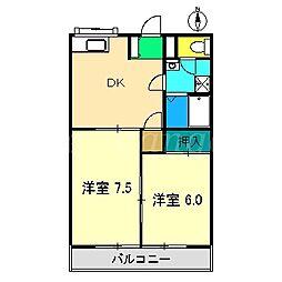 コーポ小笠原[203号室]の間取り