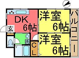 菅原橋スカイマンション[201号室]の間取り