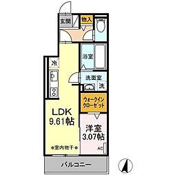 ワイズコート松鴻 3階1LDKの間取り