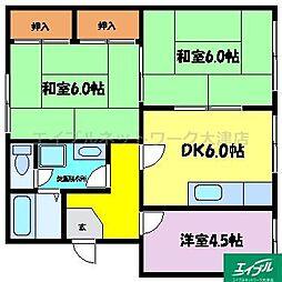滋賀県大津市南志賀4丁目の賃貸マンションの間取り