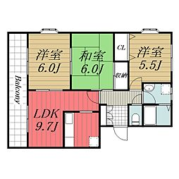 京成本線 公津の杜駅 徒歩14分の賃貸マンション 2階3LDKの間取り