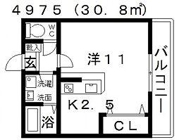 エストレノ[302号室号室]の間取り