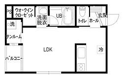 TSUNAGU APARTMENT 2階ワンルームの間取り