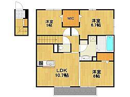 リバーサイド北屋敷[2階]の間取り
