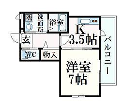 JR東海道・山陽本線 摂津本山駅 徒歩6分の賃貸マンション 3階1Kの間取り